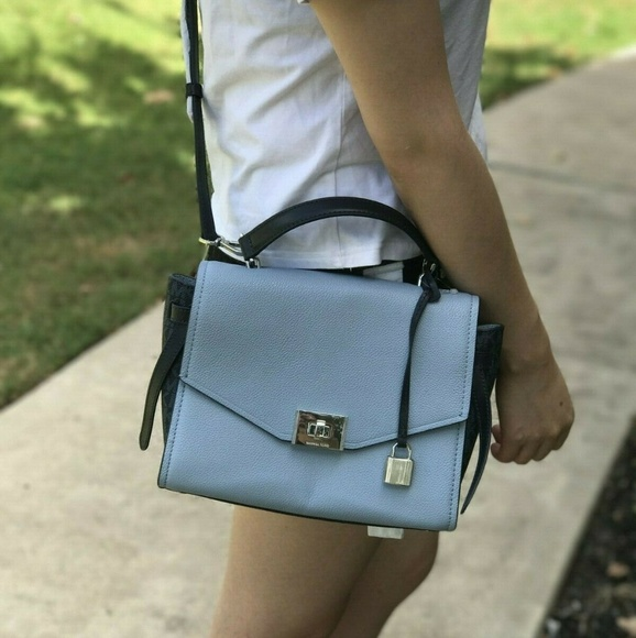Michael Kors Handbags - Michael Kors CASSIE MD Leather Messager Bag Blue